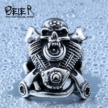 BEIER 316L Hot Sell 316LStainless Steel Winged Motorcycle Skull Biker Ring Cool Punk Ring Jewelry BR8-410
