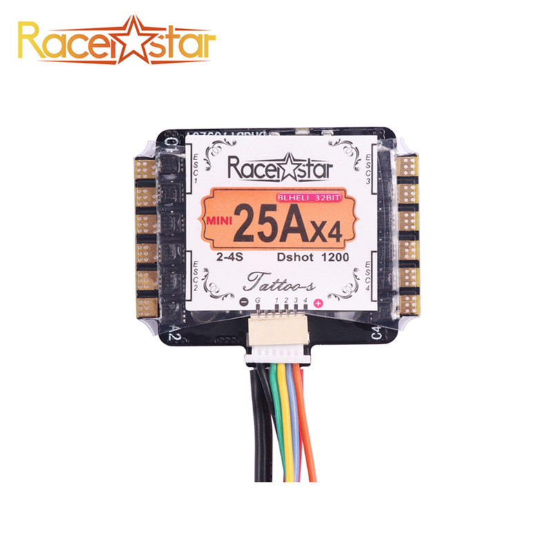 Racerstar Tattoo_S Mini 25A 4 IN 1 ESC 2-4S Blheli_32bit Dshot1200 Ready For Remote Control Models RC Racing Racer Quadcopter<br>
