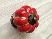Red Cabinet Knobs Pumpkin Knobs Kitchen Dresser Knob Drawer Pulls Handles Ceramic Porcelain / Antique Bronze Decorative Hardware