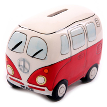 Free Shipping 1Piece Camper Van Shaped Money Box Creative Car Shape Saving Money Box Coin Piggy Bank Ceramic Bus Piggy Bank(China)