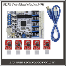 3D Printer Control Board GT2560 Support Dual Extruder Power Than ATmega2560 Ultimaker + 5PCS A4988 + 5PCS Heatsinks Free Ship(China)