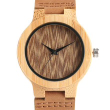 Simple Trendy Women Watches Nature Wood Sport Genuine Leather Band Strap Creative Bamboo Bangle Wrist Watch Handmade Clock Gifts