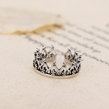 Flyleaf 925 Sterling Silver Imperial Crown Open Rings For Women Do The Old Hollow Lady Vintage Jewelry Bijoux Femme(China)