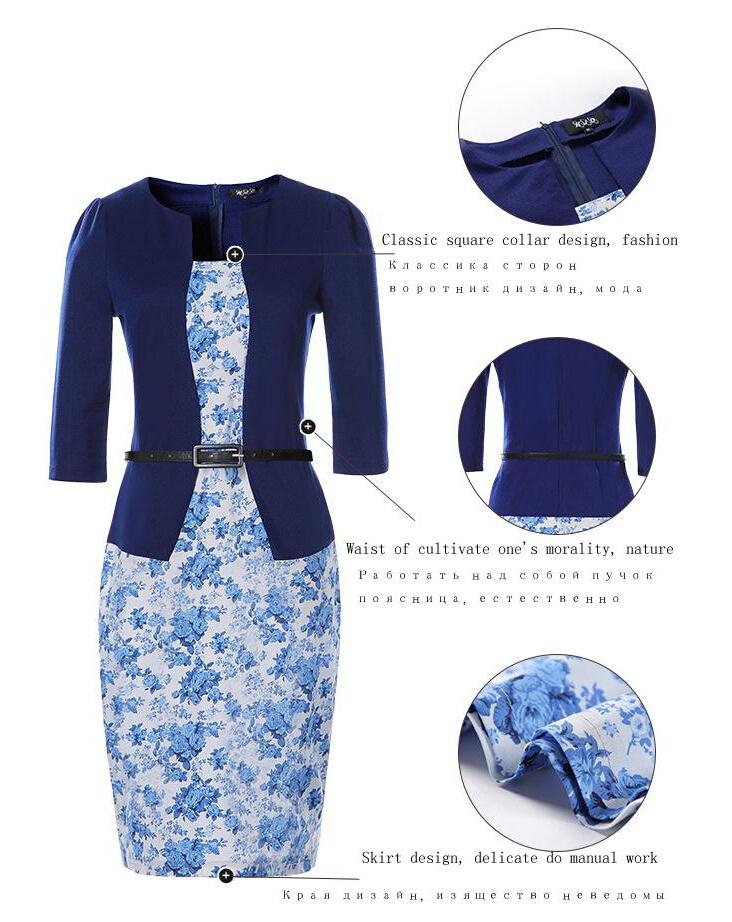 YGYEEG Women Dresses One Piece Patchwork Floral Print Elegant Business Party Formal Office Plus Size Bodycon Pencil Work Dress 6