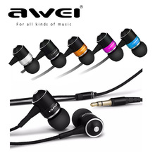 Awei Q3 In-Ear Earphone 3D Stereo 5 Colors Blue Black Orange Pink Silver For Android/IOS Smartphone Xiaomi iphone Ipad PC(China)