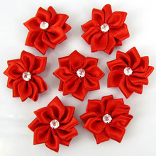 40Pcs Red Handmade Small Fabric Satin Flowers with Rhinestone Appliques Sewing Wedding Garment Accessories Craft Flowers 28mm(China)