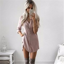 Buy Fall 2017 Fashion Women Long Sleeve Casual Shirt Dress Autumn Winter Khaki Black Sexy Club Party Mini Dresses Plus Size for $7.45 in AliExpress store