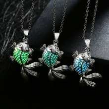 Silver Plated Magic Round Fairy Locket Glow In The Dark Necklace Gift Glowing Luminous Goldfish Vintage Necklaces Three color