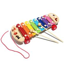 New Colorful 8 Scales Children Learning Toy For Baby Kid Toys Wisdom Development Wooden Musical Instrument Pandeiro #2017(China)