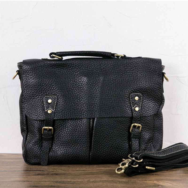 New Fashion Vintage Brand Designer Mens bag Handbags Genuine Leather Men Shoulder Bags Cowhide Messenger Bag Large Laptop Bags<br><br>Aliexpress