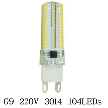 1 pcs mini Dimmable G9 led bulb led G9 220v 6-12W 48-120pcs leds smd 3014 silicone body light warm white cold white Spotlight