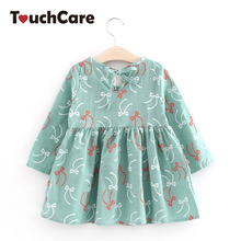 Cute Floral Printed Baby Girls Dresses Spring Autumn Long Sleeve Bow Princess Dress Casual Costume Kids Clothes Tutu Vestidos