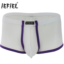 iEFiEL Brand Mens White Black Red Purple Sexy Mesh Bulge Pouch Boxer Men Shorts Underwear Men's Gay Underpants Size M-XL