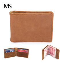 MS Men Slim Money Clip Genuine Leather Billfold Clamp For Money With Card Hold Crazy horse leather Men Wallets   TW1601