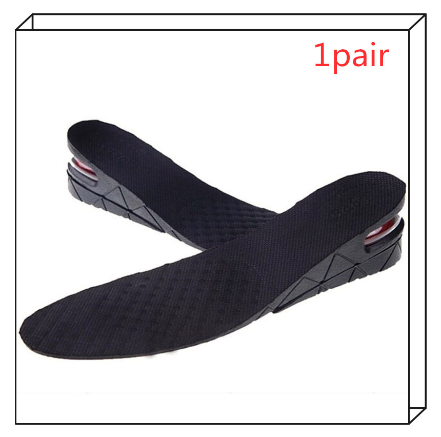 2Layers Stealth Adjustable Increased Insoles Massage For Men Women Shoes Pad Increase Height Insole Black Air Cushion Foot Care