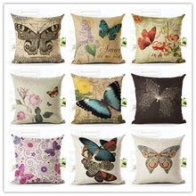 45x45 New Home Decor Cushion Cover Fashion Beautiful Butterfly Home Decorative Printed Throw Pillowcase Cojines Almofada(China)