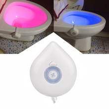 New 8 Color LED Night Light Motion Sensor Automatic Toilet Hanging Light Bowl with Color Setting AAA Battery-Operated(China)