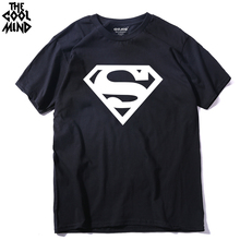 THE COOLMIND 100% Cotton tee shirt short sleeve superman printed men t-shirt casual cool o-neck men t shirt 2017(China)
