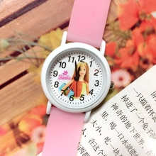 Small Order 10PCS/LOT Barbe Children Quartz Wristwatches Girls Glow In The Dark Silicone Cartoon Kids Jelly Watches Gifts 2017(China)
