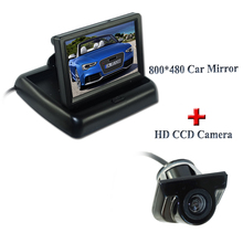 "Waterproof IP 69K car rear reversing camera bring parking line with 4.3"" foldable car rearview monitor suitable for kinds of car"