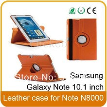 360 Degree Multi Angle Rotating Cover Case for Samsung Galaxy Note 10.1 inch Tablet N8000/N8013/ SCH-i925(Orange)--Orange(China)