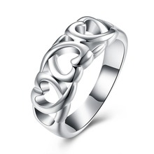 Hot Sales Silver Heart Finger Ring Woman Fashion Jewelry Valentines Day Gifts Good Quality Low Price anel feminino ANGELTEARS