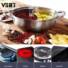 30cm Stainless Steel Hot Pot Shabu Shabu Dual Site Induction Gas Stove Compatible Home Kitchen Cookware Soup Cooking Pot(China)