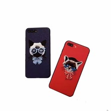 Cute Embroidery Pet Hard Case For iPhone 7 6 6S Plus Back Cover Fashion Protective Shell Fundas Capa Para