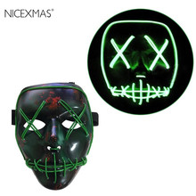 EL Wire Mask Light Up Neon Skull LED Mask For Halloween Party And Concert Scary Party Theme Cosplay Payday Series Masks(China)