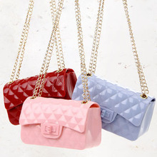 jelly Messenger Bags small Summer beach cell phone pocket Chains women bag Shoulder candy pink Diamond Lattice jelly handbag