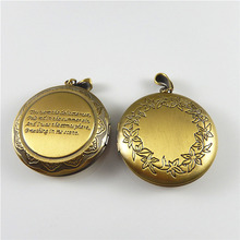 (1pieces)New Creative Bronze Wishes Box Necklace Pendant Alloy Jewelry Bracelet Charms Fashion Gift 48*45mm Handmade Craft 52449(China)