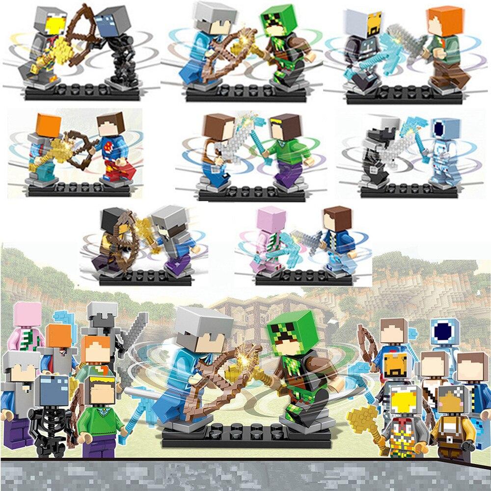 16pcs/lot My World legoelied Steve Wither Skeleton Alex Zombie Pigman Enderman Minecrafted Minifigure Building Blocks Toy Boy<br><br>Aliexpress