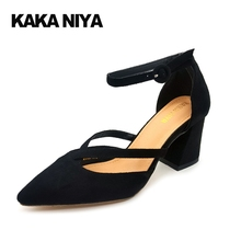 Pumps 2017 China 7cm 3 Inch Ankle Strap Sandals Vintage Block Ladies High Heels Shoes Pointed Toe Black Hasp Asakuchi Flock