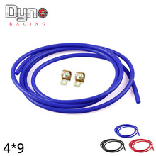 "Dyno racing- 1M Length 5/32"" (4mm) Vacuum Silicone Hose Intercooler Coupler Pipe Turbo red blue black with two clamp"