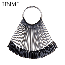 HNM False Nail Tips Fan Shaped Color Black Palette Card Display Practice Tips Sticks Nail Tools Training Polish Gel Showing Tool