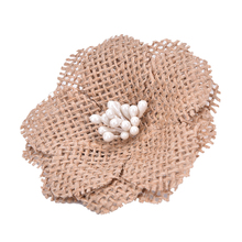 1 pcs Hessian Jute Flower Pearl Burlap Rose Vintage Wedding Decoration Party DIY Gift Packing Accessories rustic wedding decor