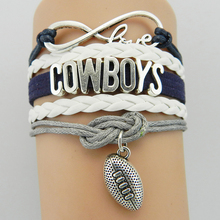 Buy Hot Infinity Love Cowboys Dallas Football Charm Wrap Braided Leather Bracelet bangles Football Fans Women Men Jewelry for $1.27 in AliExpress store