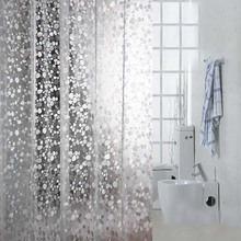 Comwarm Transparent Cobblestone Mosaic Pattern Bath Curtain 3D Embossing PVC Simple Handicraft Shower Curtain with 12 Hooks(China)
