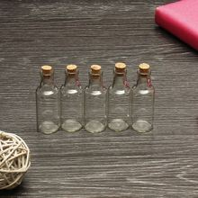 Cute 5PCS Mini Pendant Empty Tiny Clear Wishing Message Glass Bottles Vials with Cork Stopper Glass Jars Container Crafts(China)