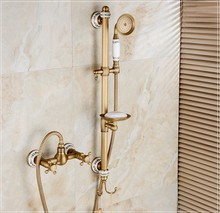 2016 New Antique Brass Finish Bathroom Hot and Cold Water Bath Shower Faucet Set /Wall Mounted Dual Handle bath tub Faucet