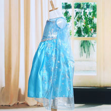 2017 Summer Blue Baby Girl Kids frozen costume Dress Snow Princess Queen Dress Up children's party Gown Cosplay Tulle Dress 3-8Y(China)