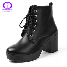 AIMEIGAO Platform Heels Women Ankle Boots Soft Leather Thick high Heel Platform Boots Winter Autumn Boots Warm Fur Big Size(China)