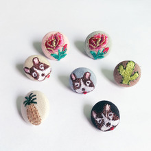 Fashion Cloth art pet bulldog brooches Rose cactus Charm wholesale DIY sweater badge Brooch Pins FOR girl woman jewelry gifts