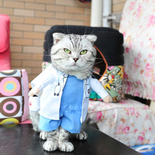 Pet Halloween Doctor Costume Dog Jeans Clothes Cat Funny Apperal(China)