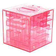 Plastic Cubic Money Maze Bank Saving Coin Collection Case Box 3D Puzzle (Pink)(China)
