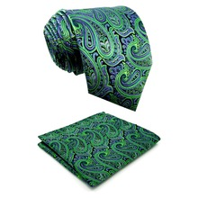 Extra long size Paisley Green Purple Black Mens Necktie Set 100% Silk Jacquard Woven  Brand New Fashion HANKY Ties for men 63""