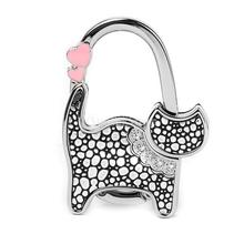 Hot Unisex Table Cat Foldable Purse Bag Rhinestone Hanger Hangbag Hook Holder Safer Gift -Black + Silver dots(China)