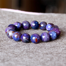 AAA South Africa High Quality Natural Genuine Purple Blue Sugilite Stretch Finish Men Bracelet Round Big beads 14mm 05009