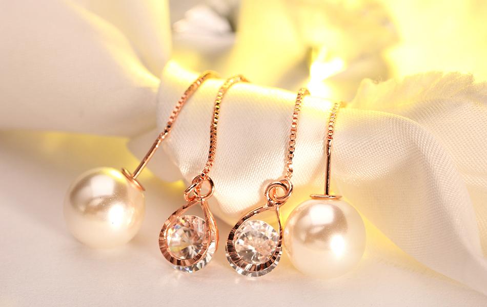 Effie Queen Fashion Cute Ear Wire Earrings Female Models Long Drop Crystal Imitation Pearl Jewelry Dangle Earrings Brincos DDE26 20