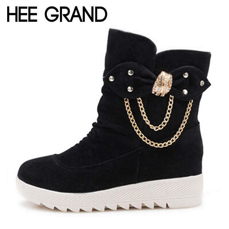 HEE GRAND Women Winter Boots Sexy Chain Ankle Snow Boots 2017 Casual Creepers Platform Canvas Shoes Woman Slip On Flats XWX4631<br><br>Aliexpress